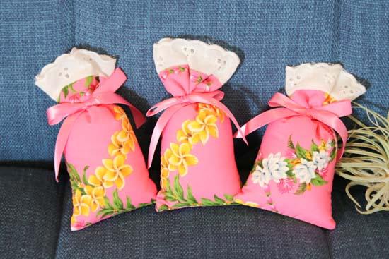 3個セットピンクサッシェ(香り袋)ローズ