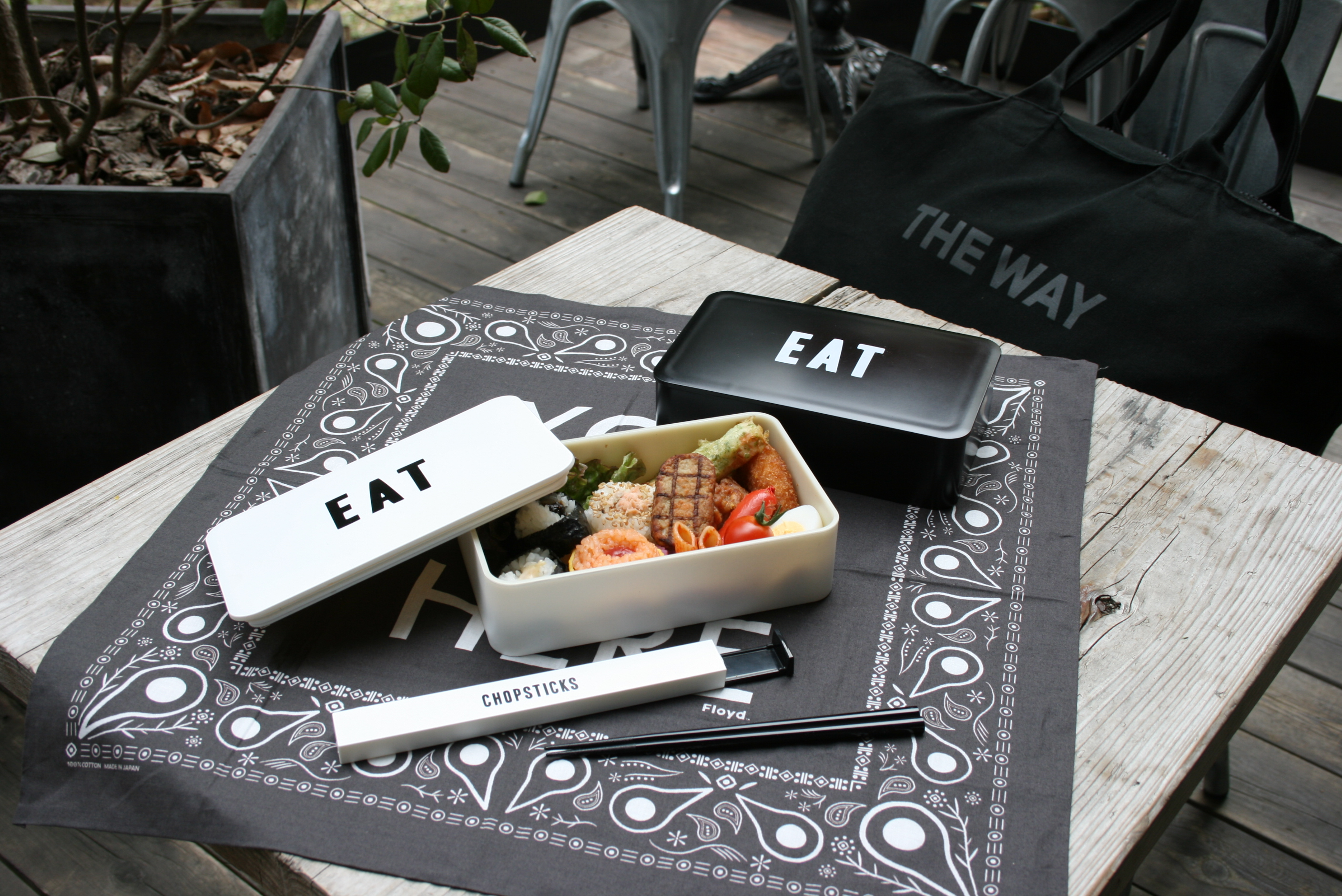 Labeled Lunch Box EAT& Chopstick