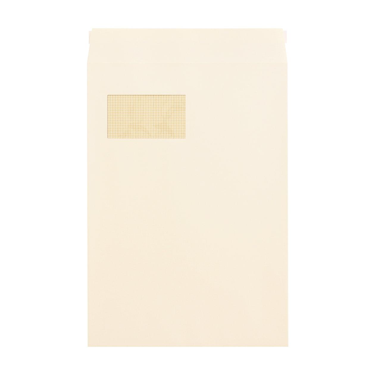 角20窓封筒 コットン ナチュラル 116.3g 地紋有 テープ有