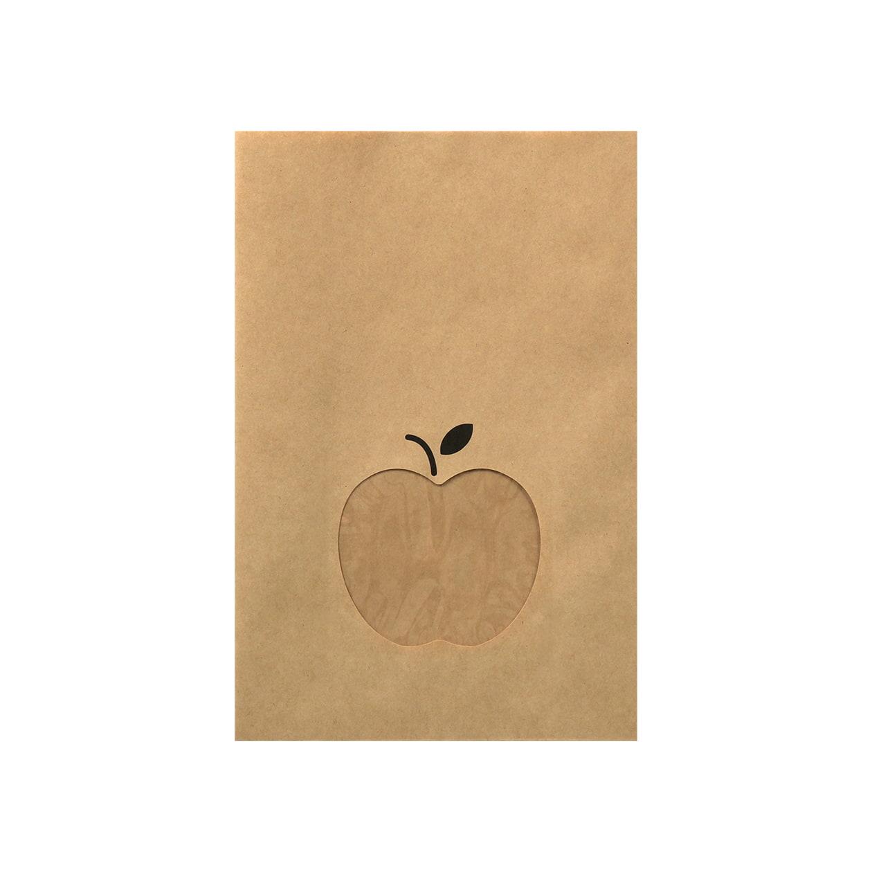 平袋160×240窓付 未晒クラフト 70g りんご