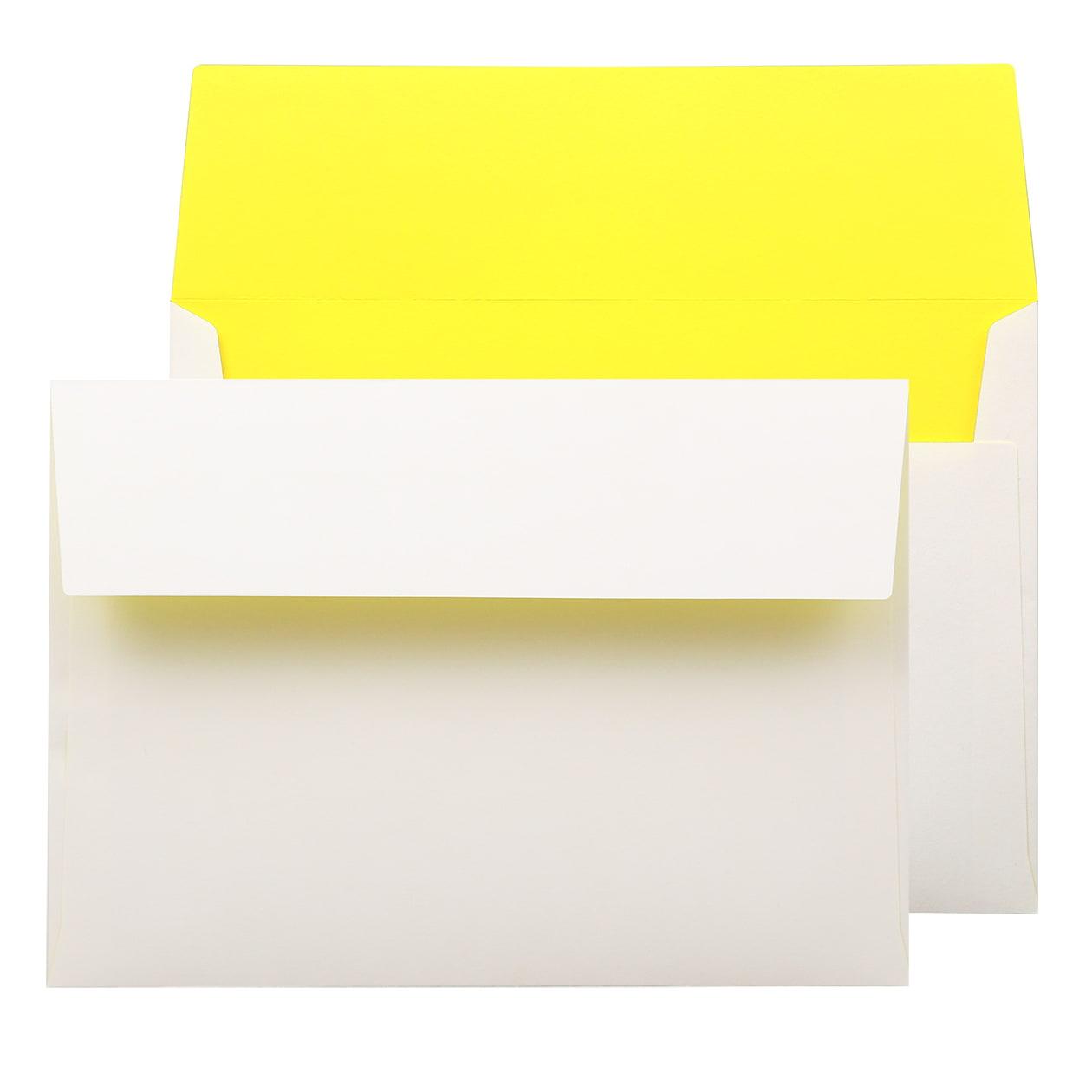 角6カマス封筒 フラッシュカラー ホワイト×イエロー 100g