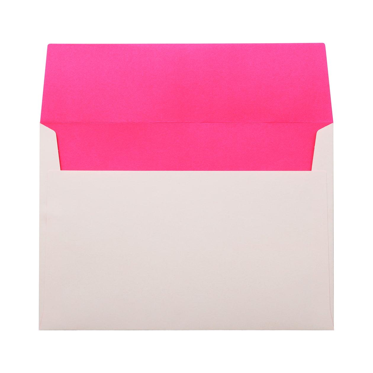 角6カマス封筒 フラッシュカラー ホワイト×ピンク 100g