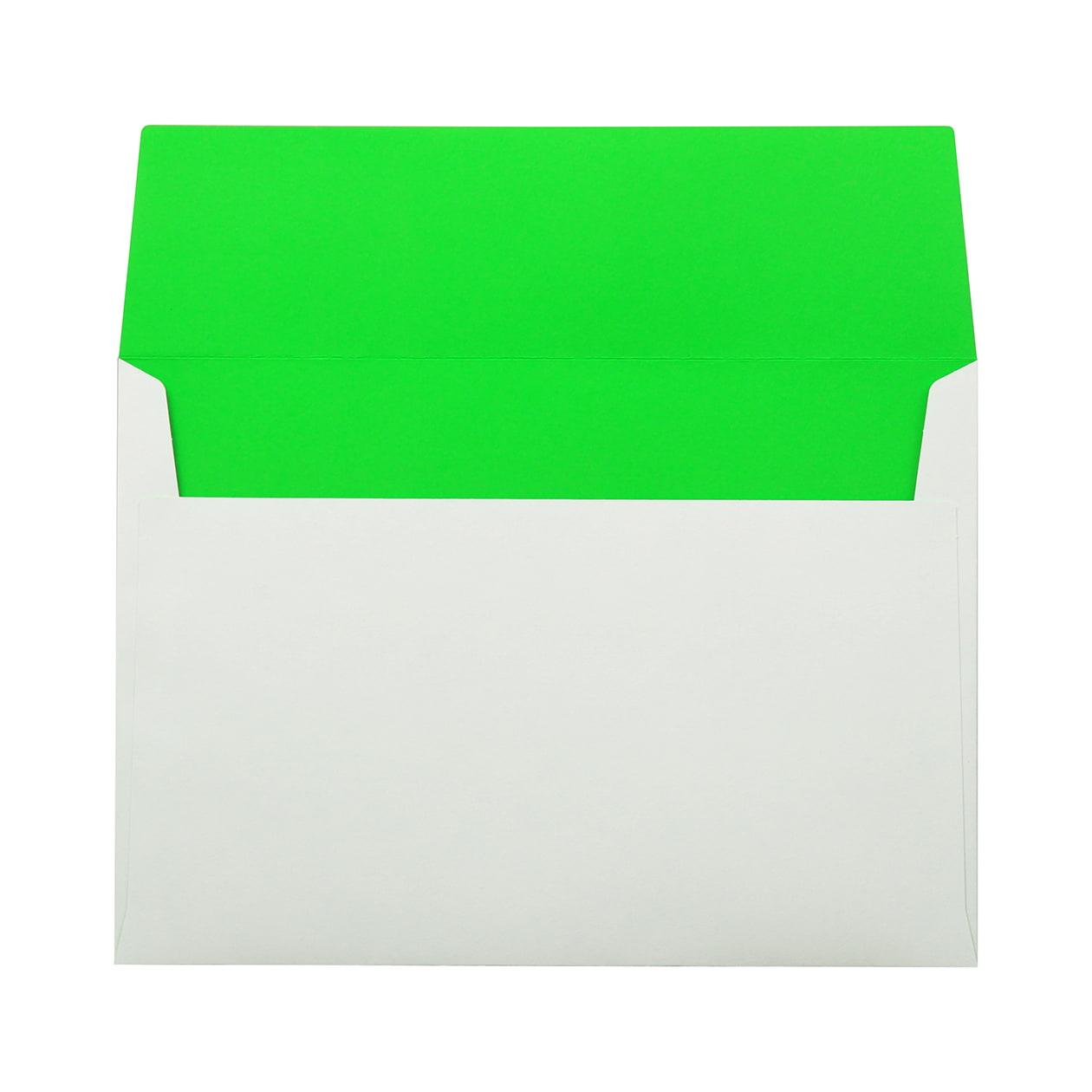 角6カマス封筒 フラッシュカラー ホワイト×キミドリ 100g