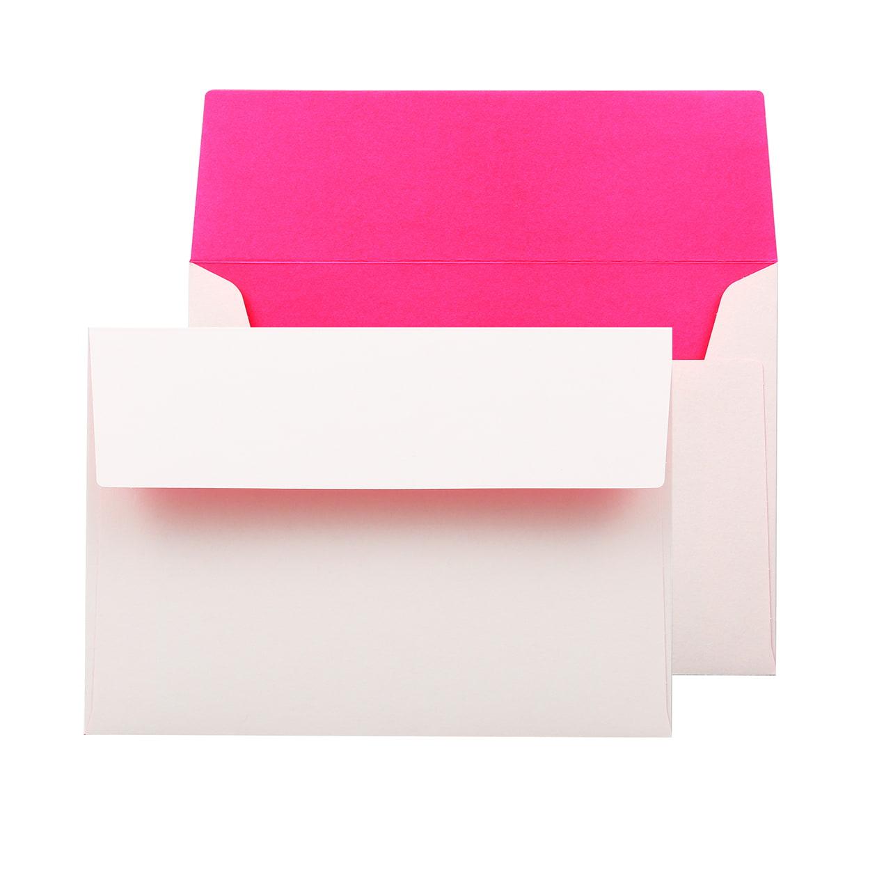 洋2カマス封筒 フラッシュカラー ホワイト×ピンク 100g