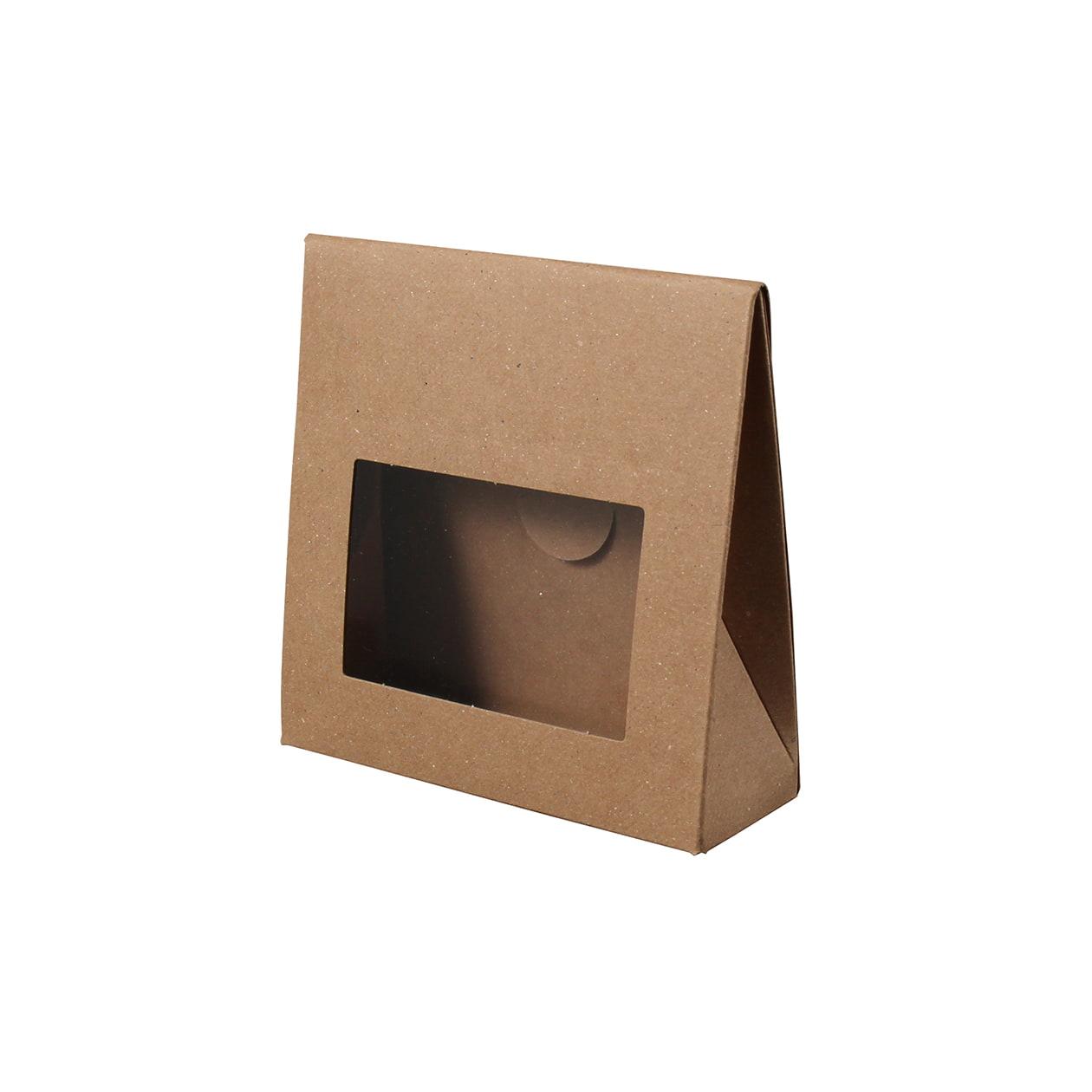 角底箱ロック式90×90×30 窓付 ボード紙 ブラウン 270g