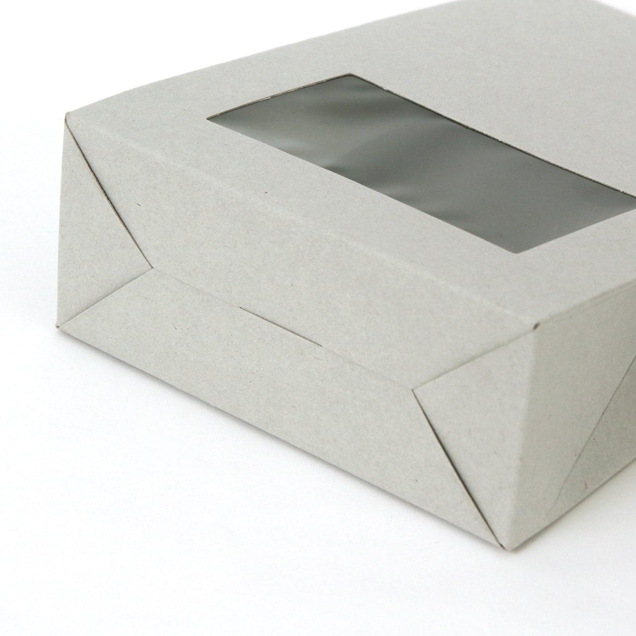 角底箱ロック式120×180×50 窓付 ボード紙 グレー 270g