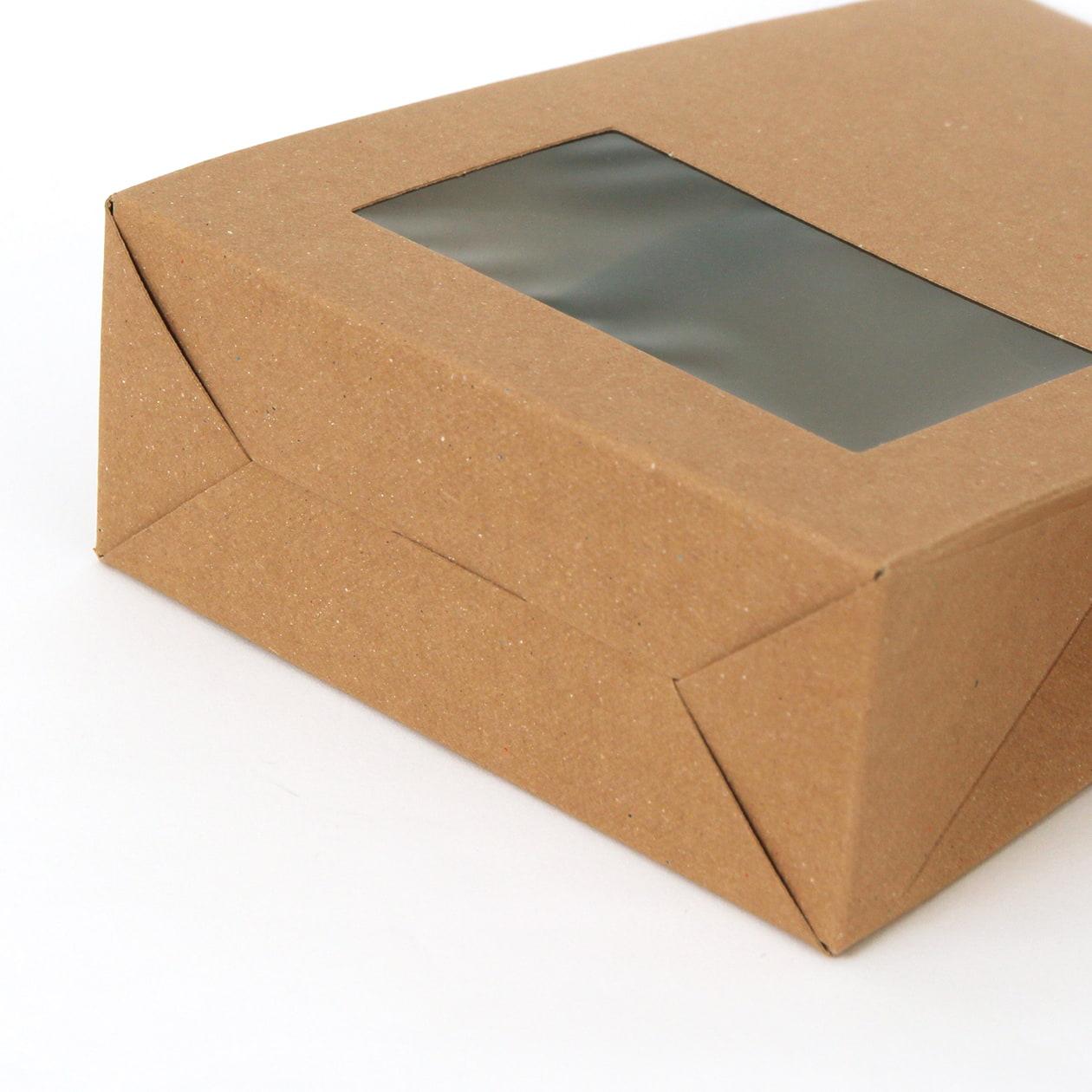 角底箱ロック式120×180×50 窓付 ボード紙 ブラウン 270g