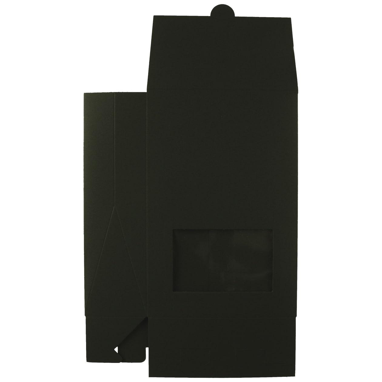 角底箱ロック式120×180×50 窓付 ボード紙 ブラック 258.1g
