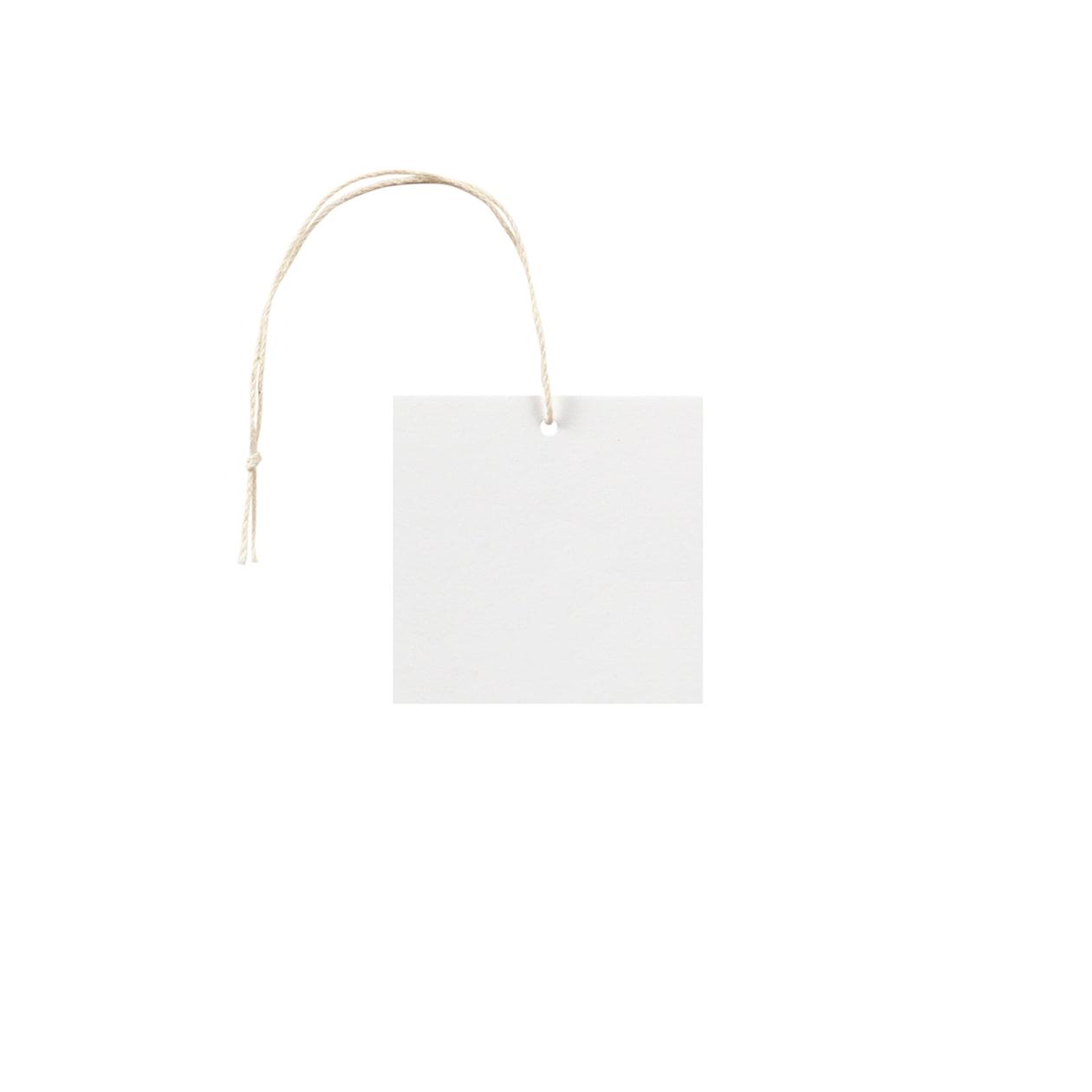 タグ55×55四角形 コットンスノーホワイト 232.8g タグ紐(細)コットン生成