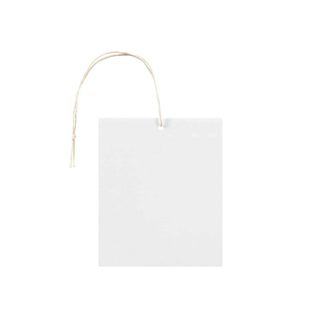 タグ75×90四角形 コットンスノーホワイト 232.8g タグ紐(細)コットン生成