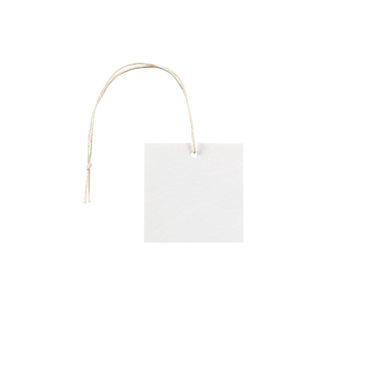 タグ50×50四角形 コットンスノーホワイト 232.8g タグ紐(細)コットン生成