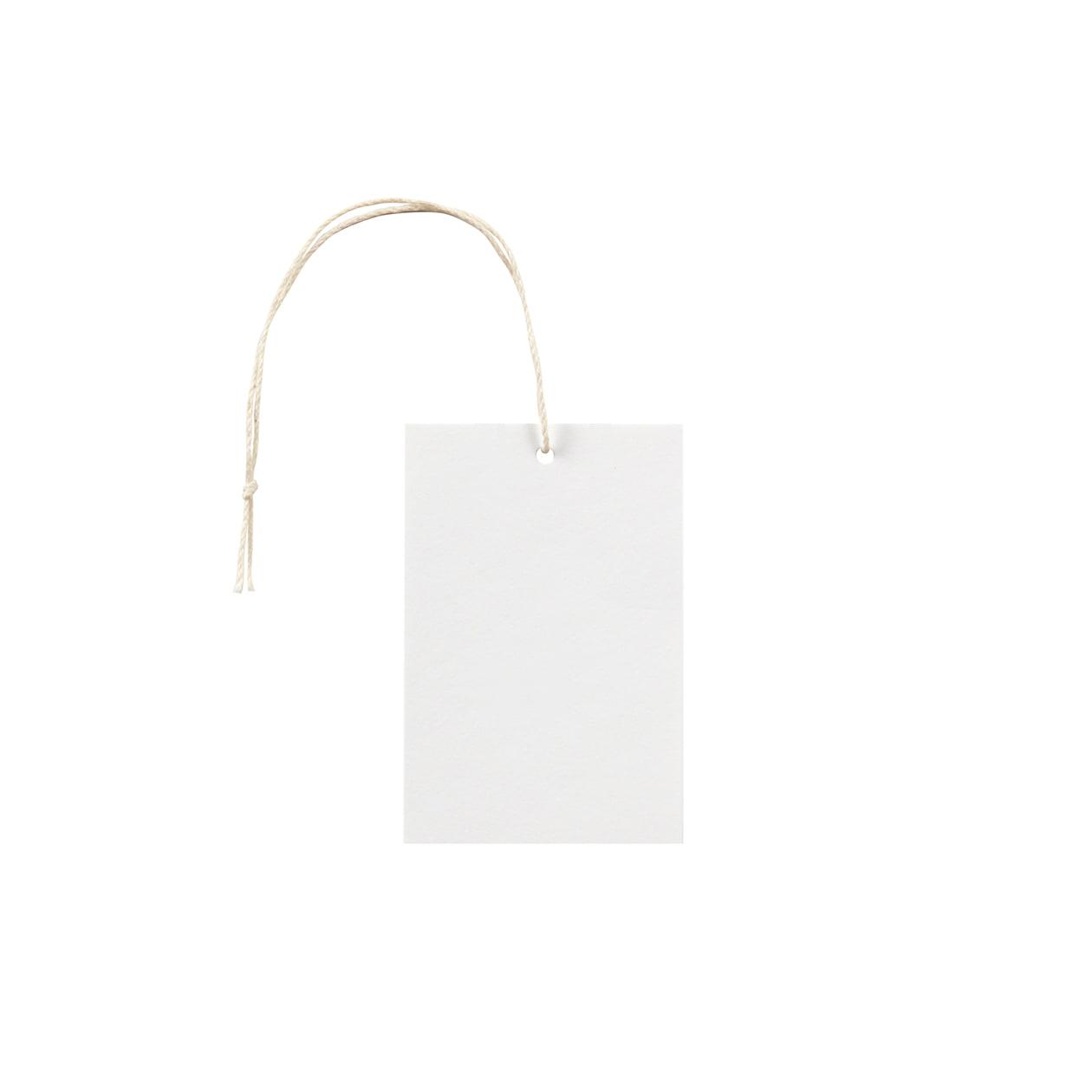 タグ50×75四角形 コットンスノーホワイト 232.8g タグ紐(細)コットン生成