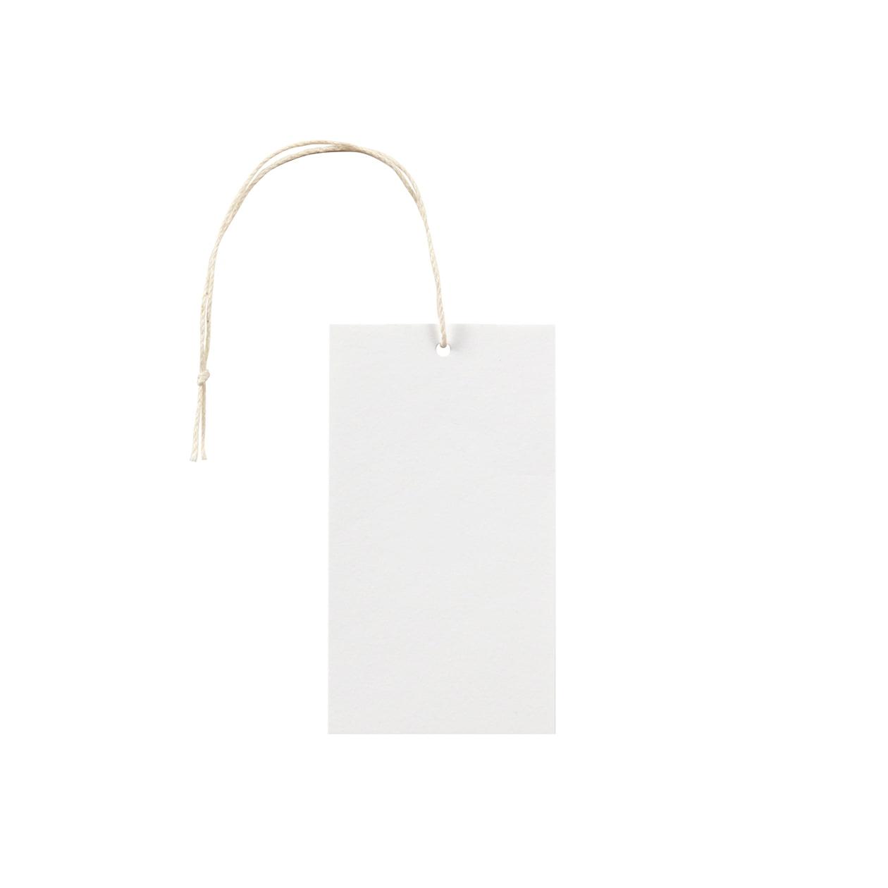 タグ50×90四角形 コットンスノーホワイト 232.8g タグ紐(細)コットン生成