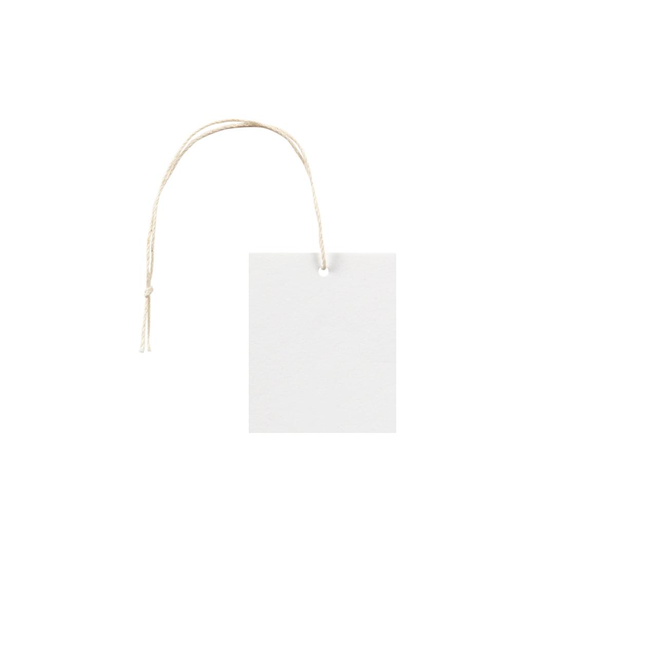 タグ45×55四角形 コットンスノーホワイト 232.8g タグ紐(細)コットン生成