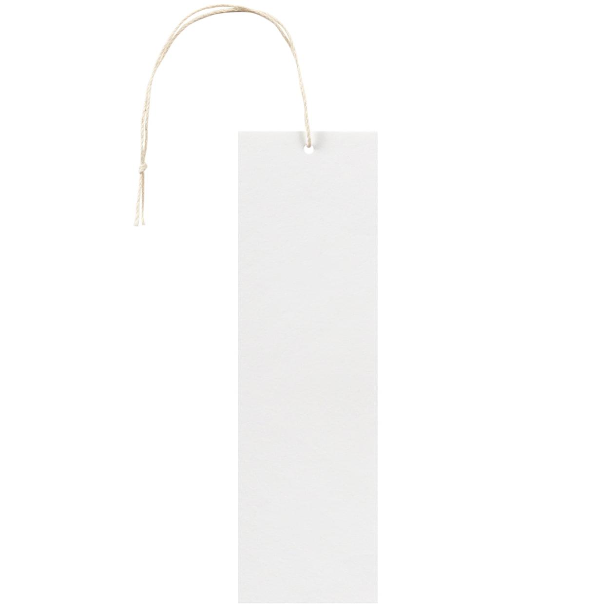 タグ45×150四角形 コットンスノーホワイト 232.8g タグ紐(細)コットン生成