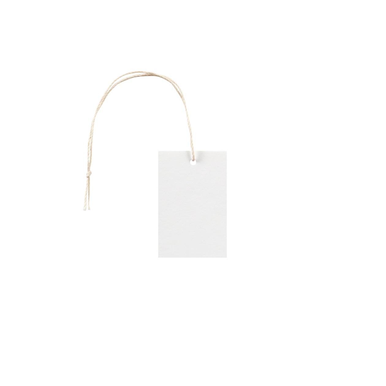 タグ35×55四角形 コットンスノーホワイト 232.8g タグ紐(細)コットン生成