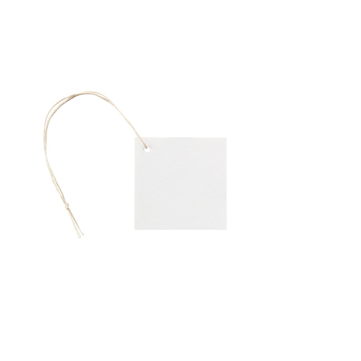 タグ50×50四角形(紐穴サイド) コットンスノーホワイト 232.8g タグ紐(細)コットン生成