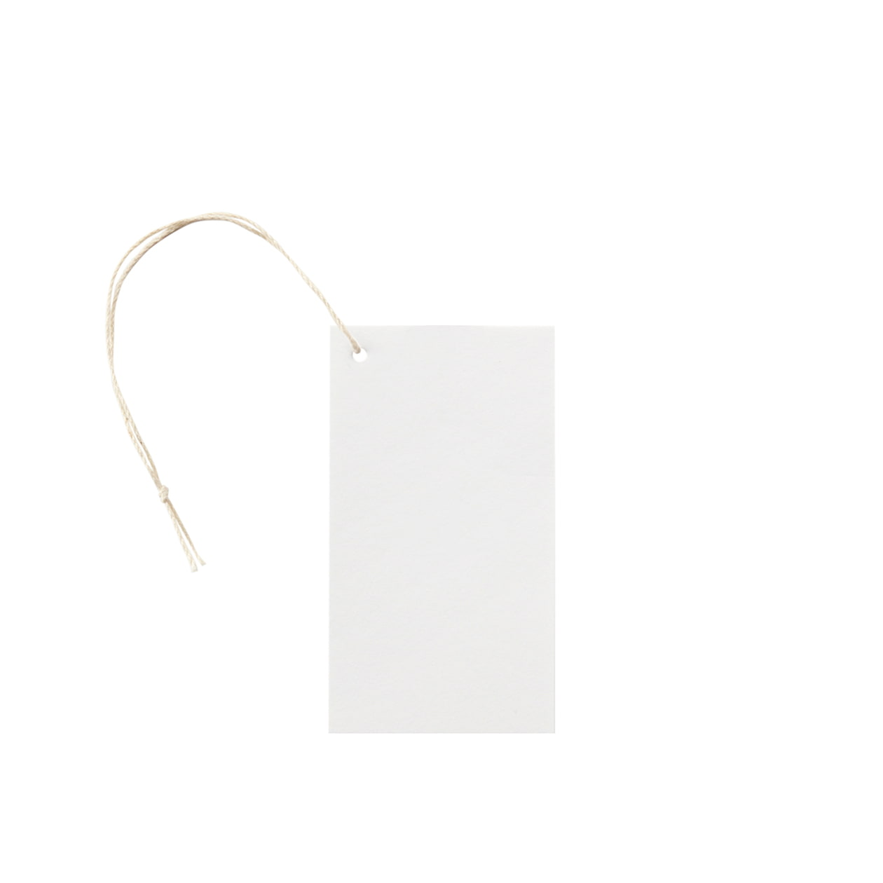 タグ50×90四角形(紐穴サイド) コットンスノーホワイト 232.8g タグ紐(細)コットン生成