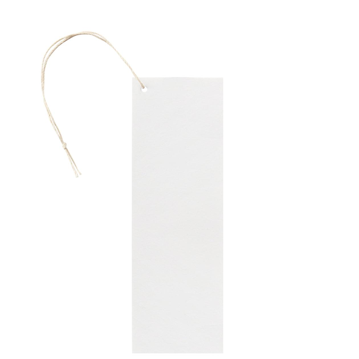 タグ50×150四角形(紐穴サイド) コットンスノーホワイト 232.8g タグ紐(細)コットン生成