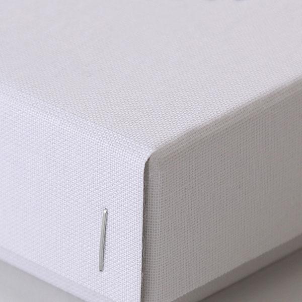 ホッチキス箱 サイズM_4 細布 ホワイト×グレー