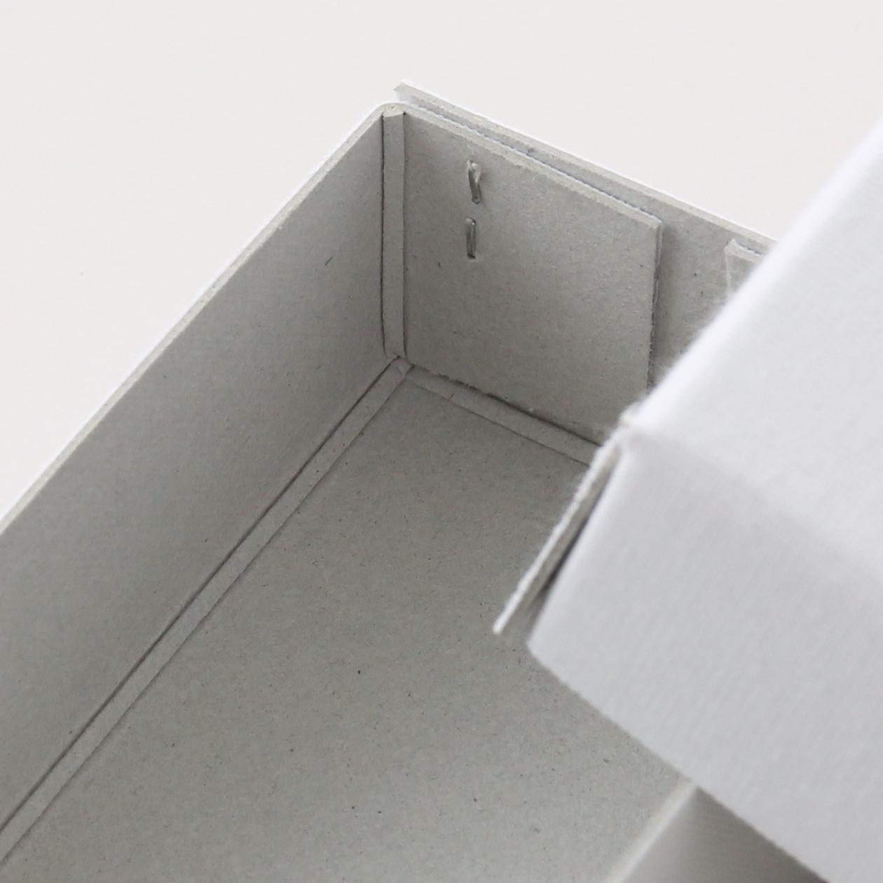 ホッチキス箱 サイズM_2 細布 ホワイト×グレー