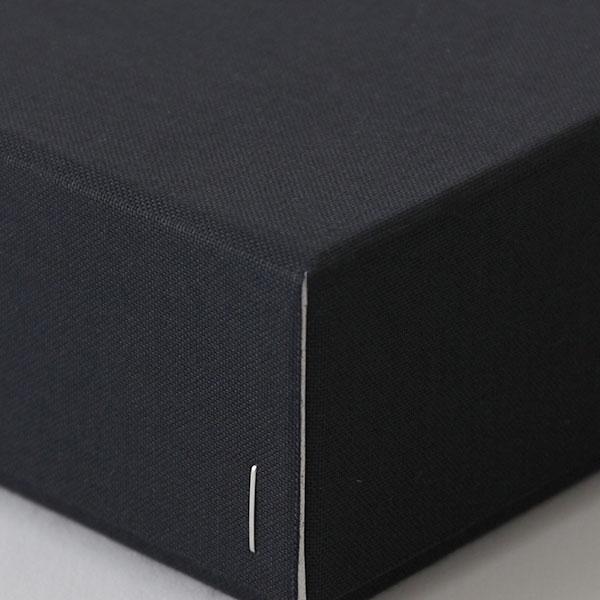 ホッチキス箱 サイズM_4 細布 ブラック×グレー