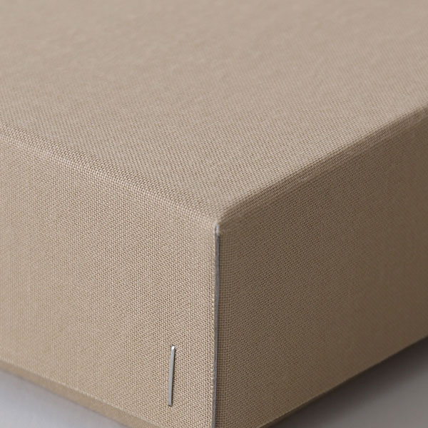 ホッチキス箱 サイズM_4 細布 ライトブラウン×グレー