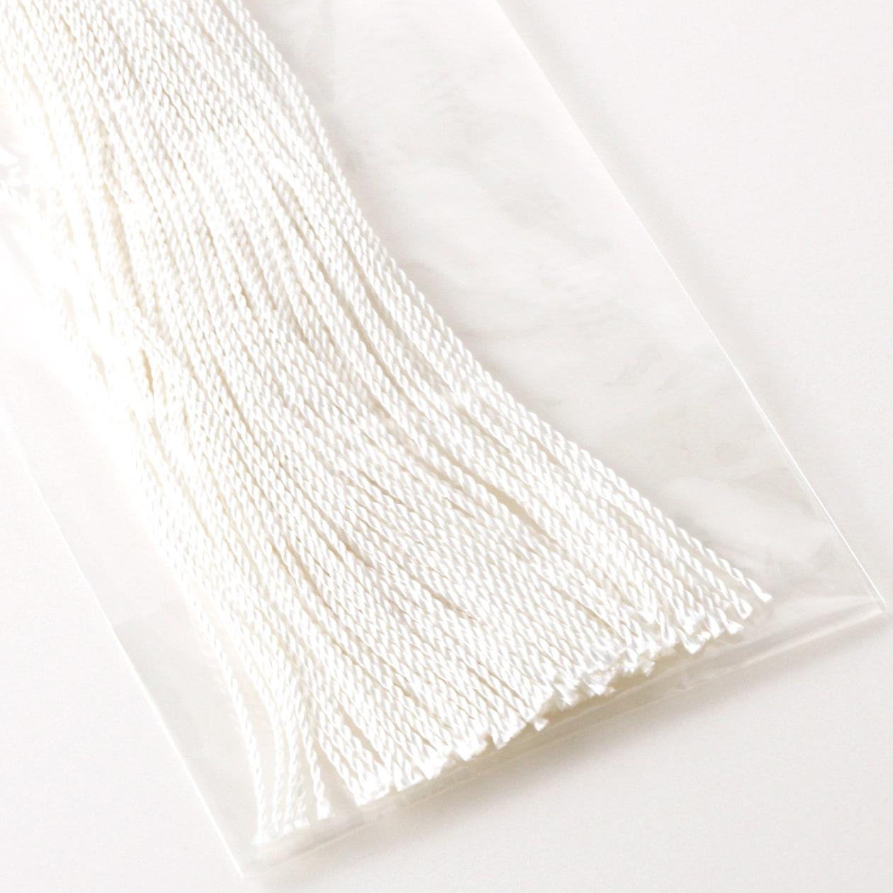 タグ紐 (太)絹ツヤホワイト30cm 1パック/約100本入