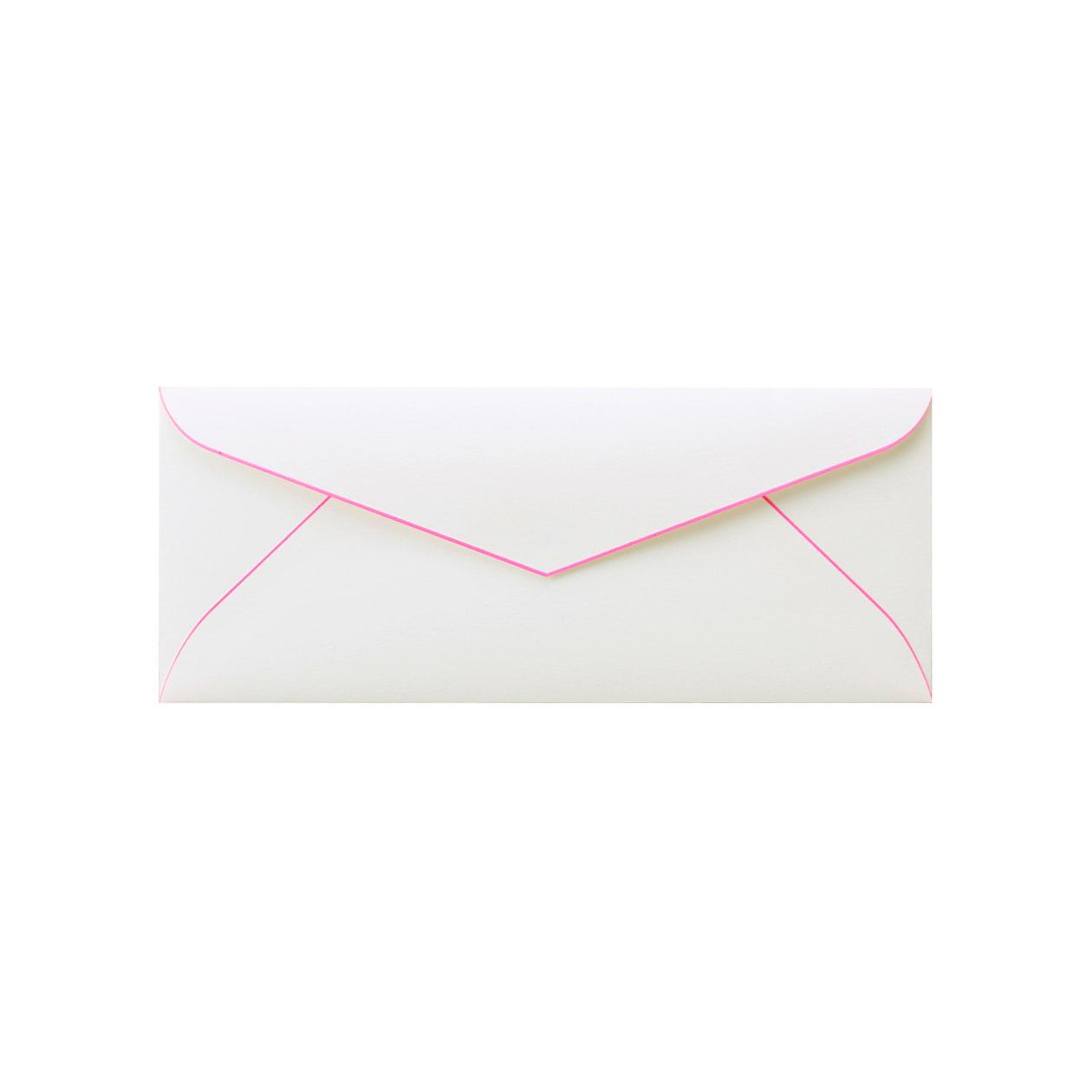 DLSダイア封筒 コットン スノーホワイトBD蛍光ピンク 116.3g