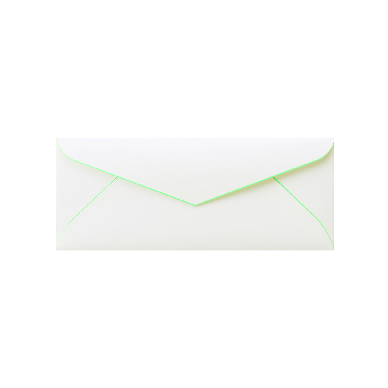 DLSダイア封筒 コットン スノーホワイトBD蛍光グリーン 116.3g