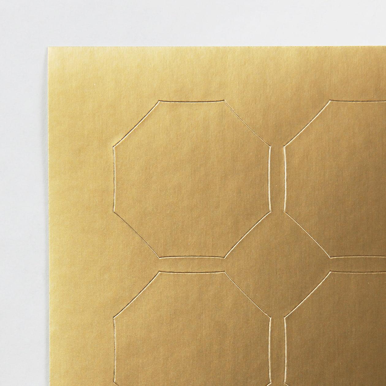 シール 八角形 ゴールド