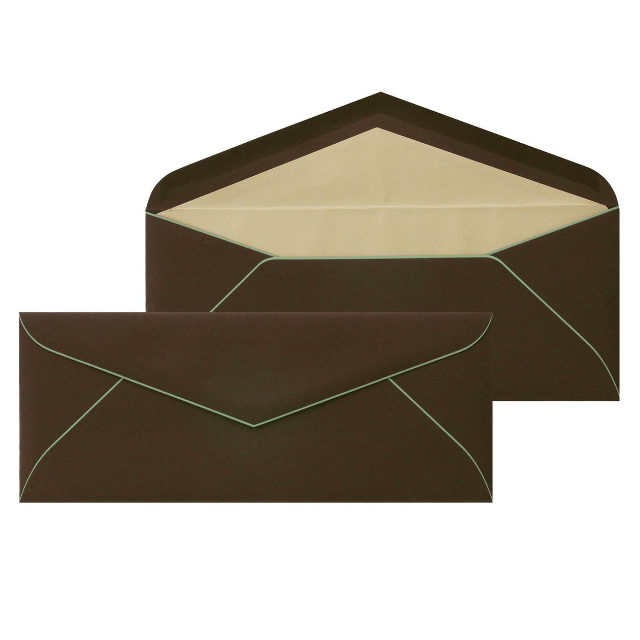 DLSダイア二重封筒 ボーダード スプラウトチョコレート
