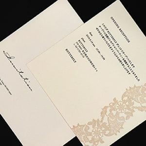 風合いのあるコットンペーパー+活版印刷の案内状