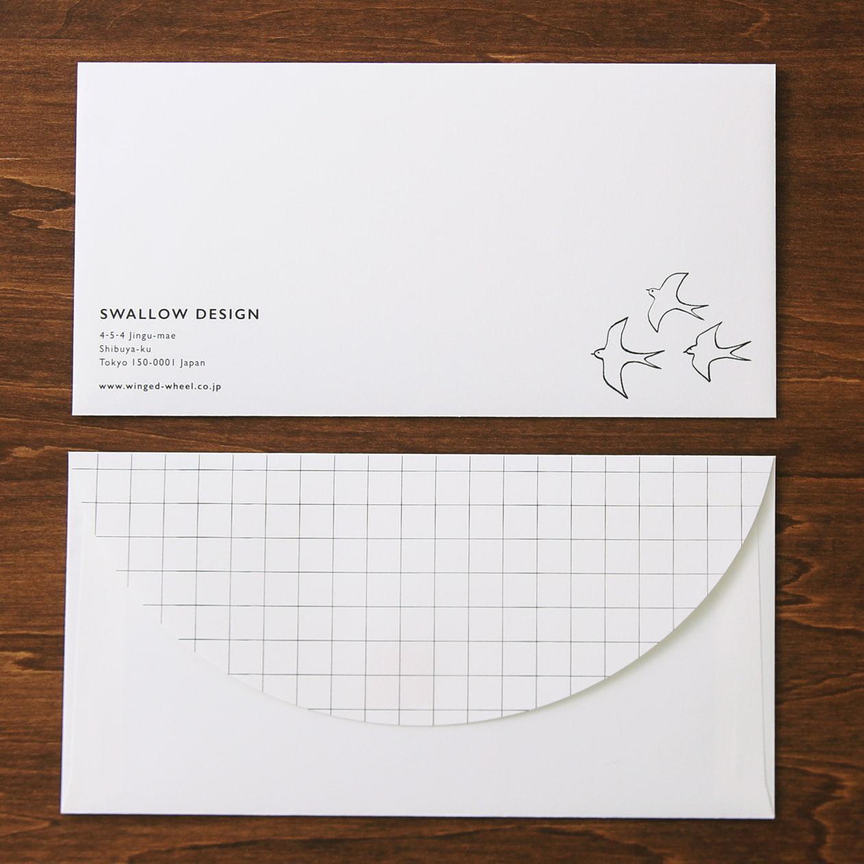 フタがオリジナル形状の長3カマス封筒
