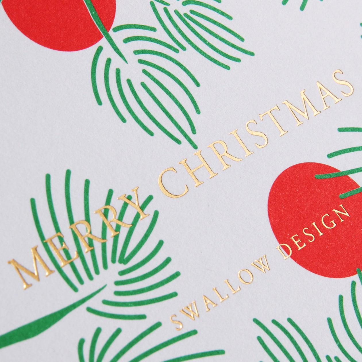クリスマスカラーが華やかな二つ折のカード