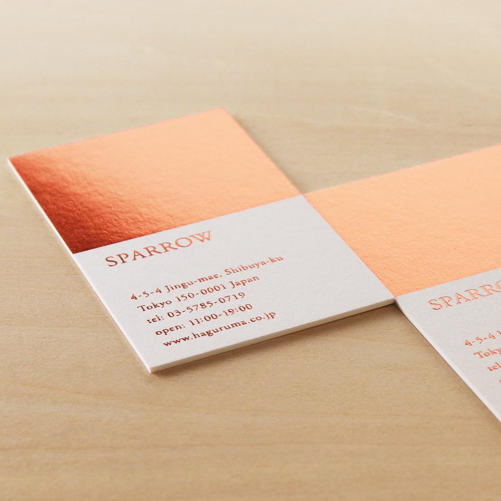 超特厚紙に箔押しが華やか ギャラリーのショップカード