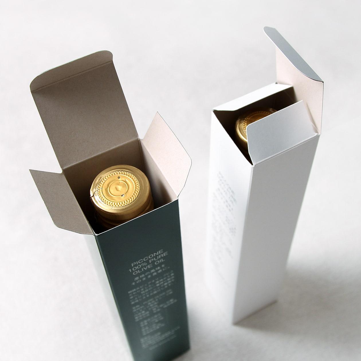 オリーブオイルの商品パッケージとセットBOX