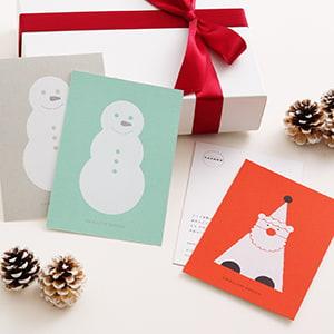 色紙×白の箔押し加工が映えるクリスマスカード