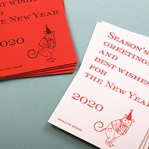 細布カードに活版印刷でヴィンテージな雰囲気の年賀状