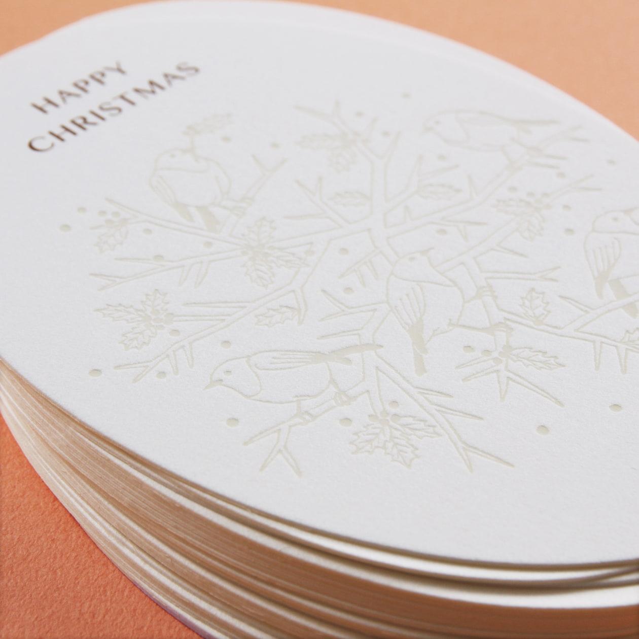 オーバル型にクラシカルなイラストが合うクリスマスカード