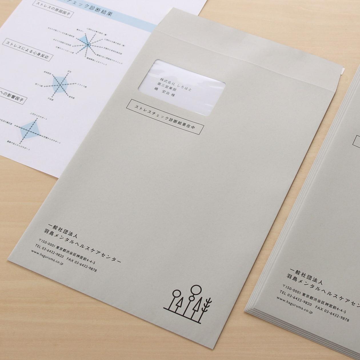 配布間違いを防ぐ 窓付きのストレスチェック診断結果配布用封筒