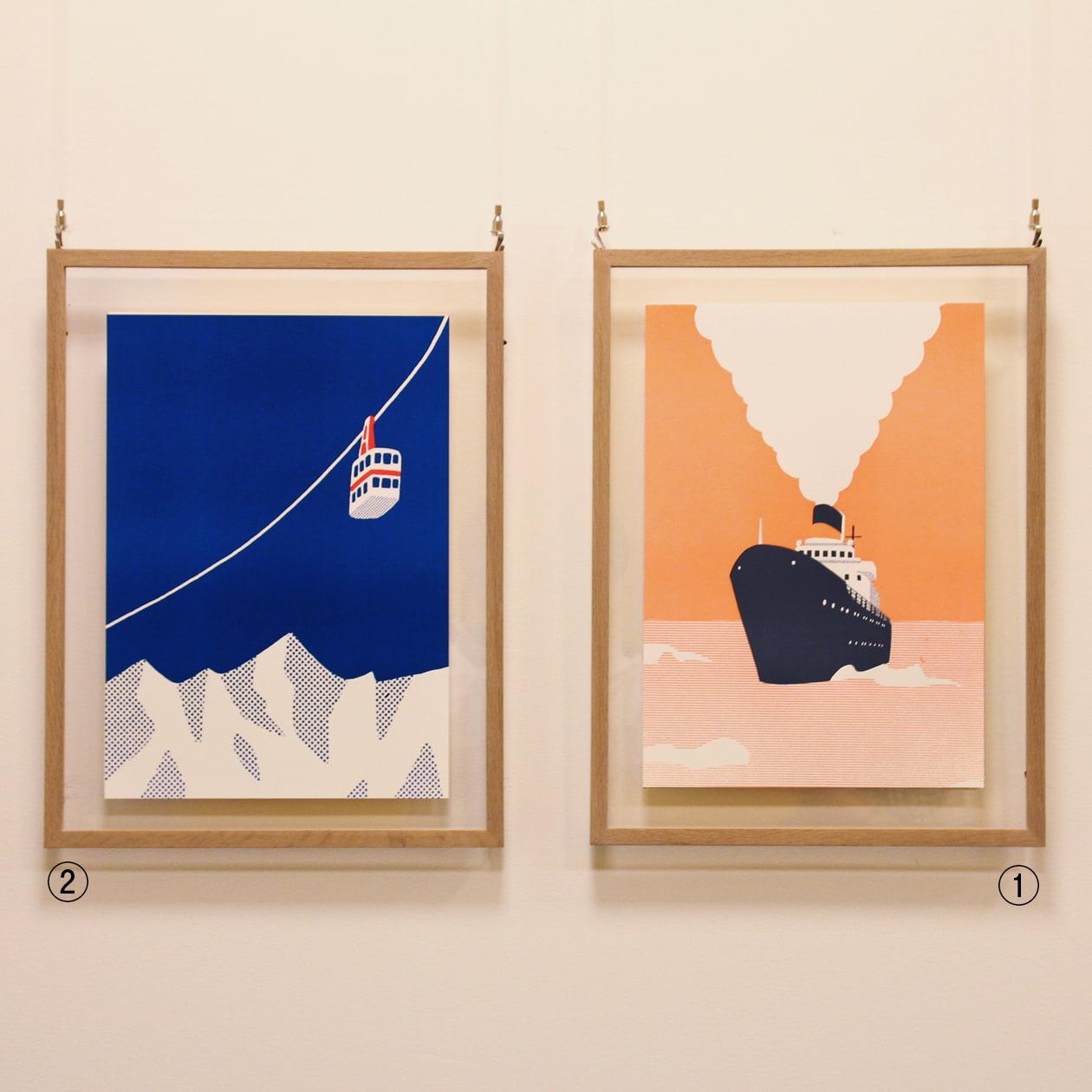 2色のイラストを活版印刷で表現したポスター