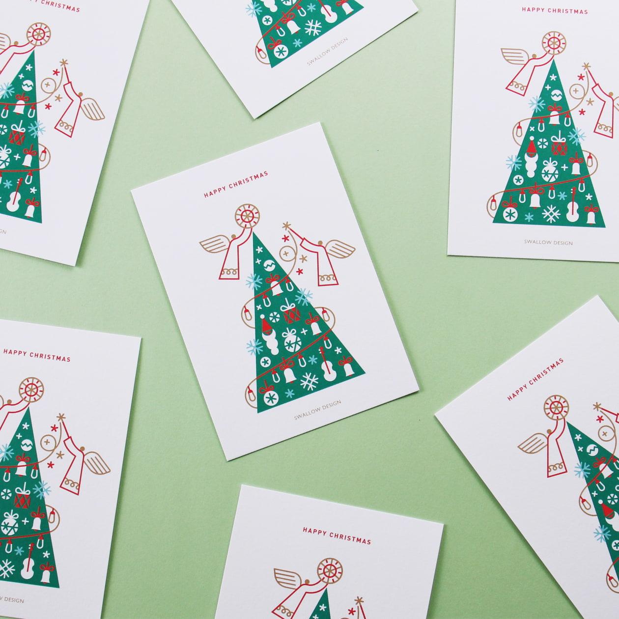 グラフィカルでカラフルなツリーのカード