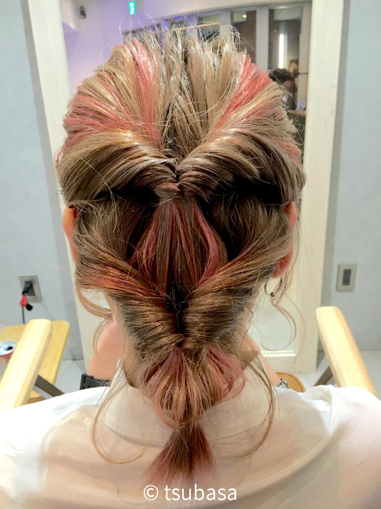 ピンク インナーカラー ボブ モード ヘアスタイルや髪型の写真・画像