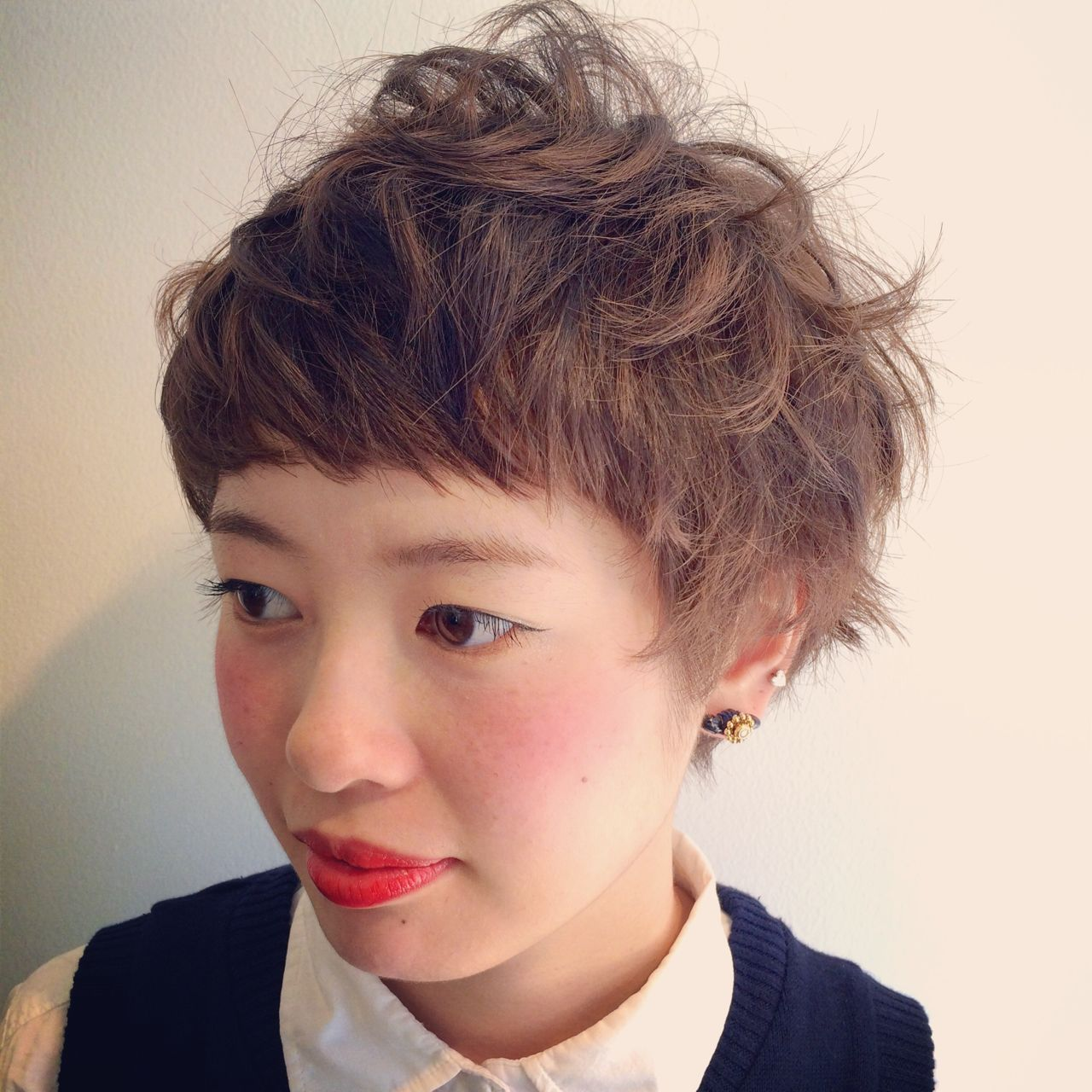 ショート ゆるふわ オン眉 ガーリー ヘアスタイルや髪型の写真・画像