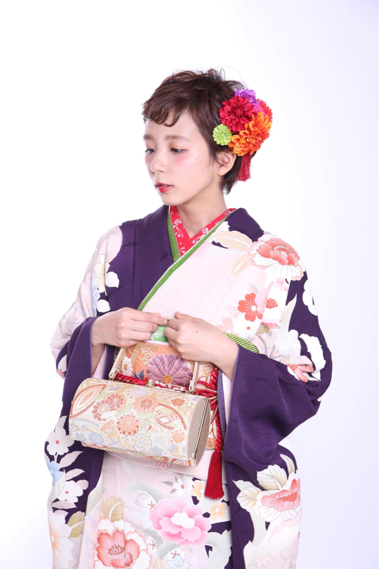 自分で出来る!成人式向け着物に合わせる簡単ヘアアレンジ  kinoko.