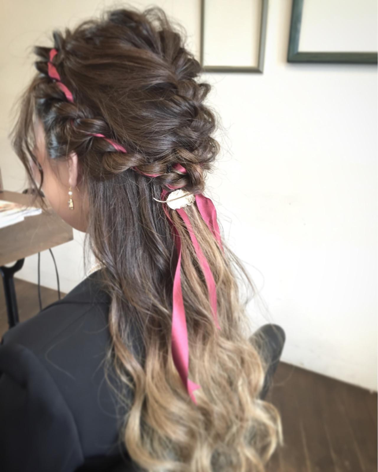 ロープ編み ロング ハーフアップ ヘアアレンジ ヘアスタイルや髪型の写真・画像