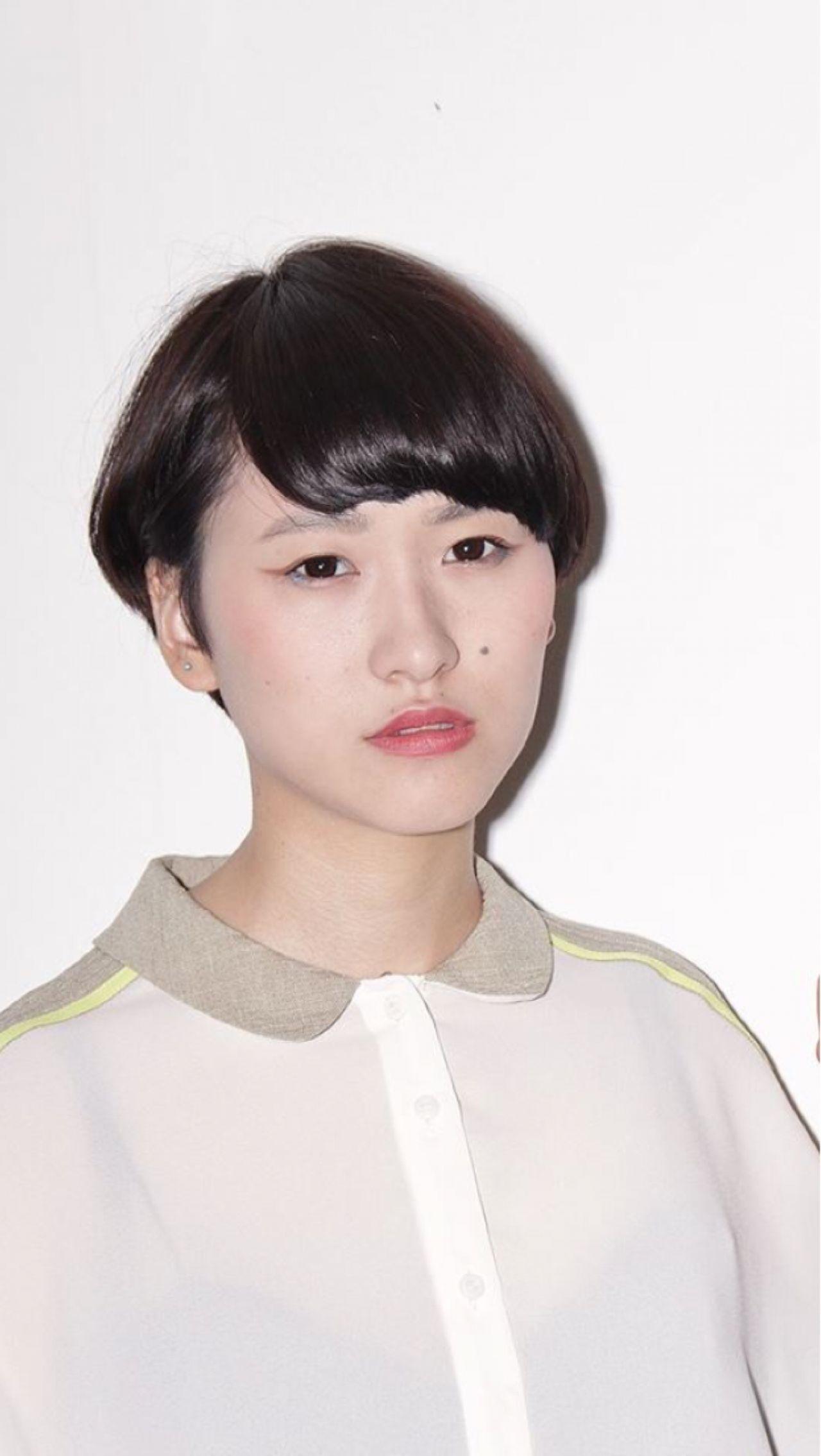 黒髪 モード 卵型 ショート ヘアスタイルや髪型の写真・画像