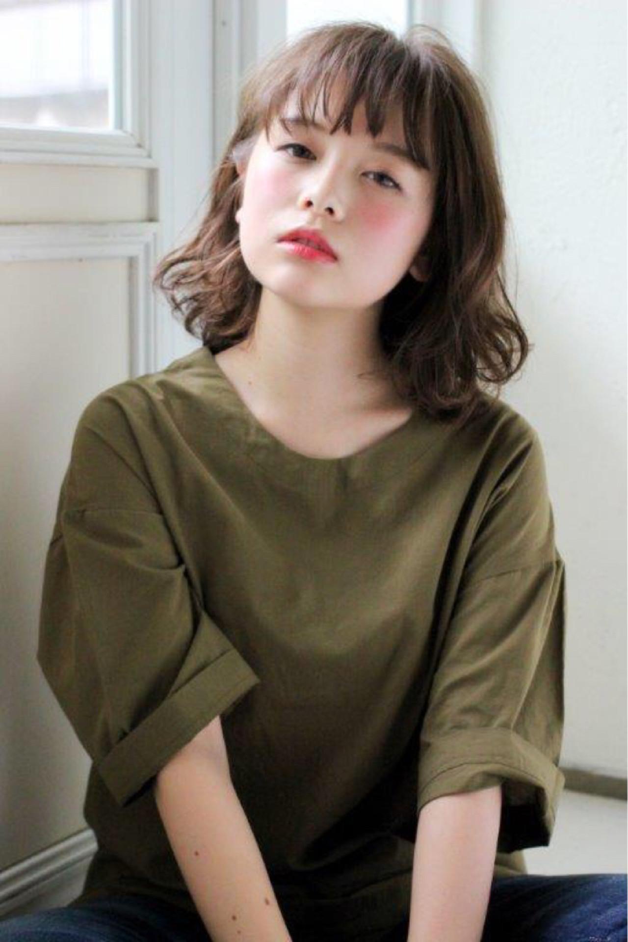 ミディアム 外国人風カラー 外国人風 デジタルパーマ ヘアスタイルや髪型の写真・画像