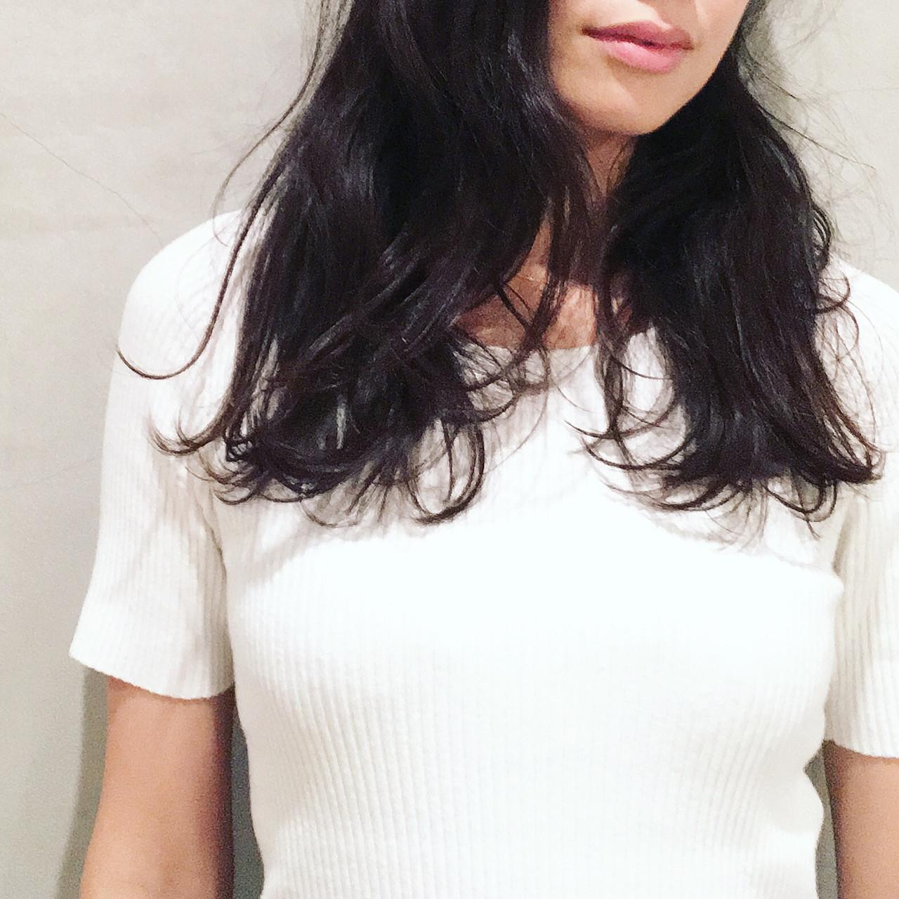 デジタルパーマ 黒髪 ロング カール ヘアスタイルや髪型の写真・画像